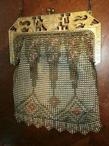 Vintage Antique Enameled Metal Mesh Purse Handbag w/ Chain Handle