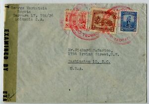 WWII Censored Airmail Cover Bogota Barrio Teusaquilla & airmail PO 24 July 1944