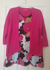 Next Ladie's Red Floral Longsleeve Jumper/Blouse In 1 Top Shirt Size UK 18 EU 46