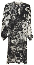 HANAE MORI VTG 70s Black & White Floral Print Pussy Bow Shift Dress Sz10 Elegant
