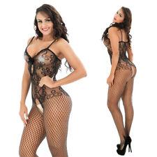 Black/ Red Sey-Women's-Lingerie-Fishnet-Body Stocking-Dress-Club-Underwear S-2XL
