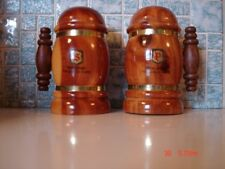 "2 4"" WOODEN SALT & PEPPER SHAKERS NEW JEREY THE GARDEN STATE"