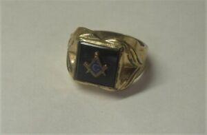 Vintage 14k RGP Masonic Ring S/z 9 Art Deco Styled C&C Midcentury 1950's