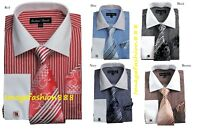 Men's Striped  Fashion French cuff Dress shirt with Tie & Hanky  FL631