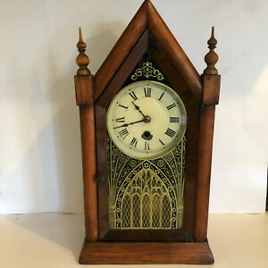 Beautiful Antique Jerome & Co Gothic Kitchen Clock - Refurbed and Fully Serviced
