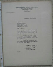NED IRISH (HOF) autographed 1944 official 8.5x11 signed letter -73 year old auto