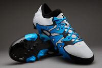 Adidas X 15.2 FG/AG Men's Football Boots White/Black/Blue (UK 8.5/9/9.5) NEW