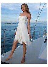 Short Beach Chiffon Wedding Dress Bridal Gown Custom Size 4 6 8 10 12 14 16 18+
