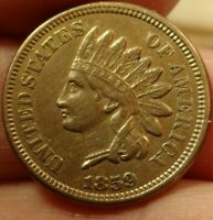 1859 Indian Head cent AU ++