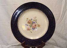 Homer Laughlin K 42 N 4 Dinner Plate~Cobalt Blue~Gold Filigree & Floral Center
