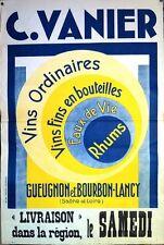 Vins & spiritueux : affiche publicitaire grand format Gueugnon et Bourbon-Lancy