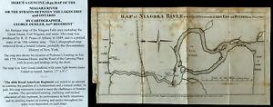 1849 NIAGARA RIVER LAKE ERIE ONTARIO FRONTIER WAR MAP NY DEMLER 60th REGIMENT VG