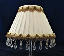 "Clip-On Lamp Shade, White Bell Dangles Gold Trim, 3 1/2"" x 7 1/4"" x 4 5/8"" H"
