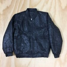 Desert Well Black Leather Bomber Jacket with NYC Themed Black Embroidery Boys XL
