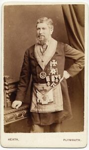 Two rare CDV Portraits Freemasons 1870c Masonry Ph. Heat Plymouth, Honey Devizes