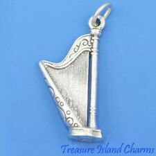 HARP MUSIC INSTRUMENT 3D .925 Solid Sterling Silver Charm Pendant MADE IN USA