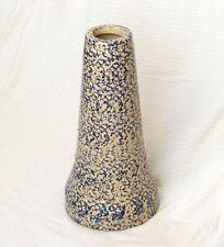 """Antique Stoneware Birdbath Pedestal Blue on Beige Spongeware 21"""" Excellent"""