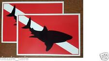 "Dive Flags Shark Shadow on Dive Flag Sticker -set of 2 Decals 3.25""x 5"" Dc196"