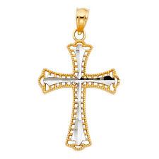 14K Real Yellow Gold 2 Tone Religious Cross Crucifix Charm Pendant 22 mm .9 gram