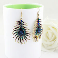 AM_ Women's Rhinestone Peacock Feather Shape Statement Hook Dangle Earrings Hot