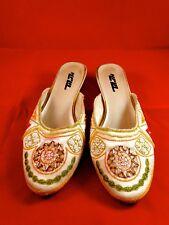 Beaded white kitty heels pumps