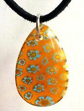 """Silver Millefiori Murano Glass Necklace 19"""" Pendant Orange Venetian Style Plated"""