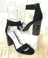Jeffrey Campbell Jeweled Sandals black Suede Studded 7 NEW