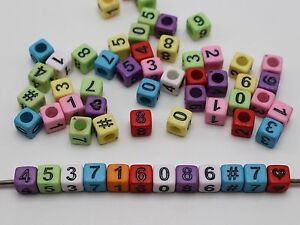 """250 Mixed Color Assorted Number """"#"""" Cube Pony Beads 6X6mm Kids Craft"""