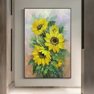LL837 Hand-painted Abstract flowers oil painting on canvas Sunflower 24''x36''