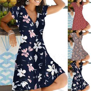 Damen V-Neck Blumen Minikleid Sommerkleid Freizeit Urlaub Strandkleid A-Linie DE
