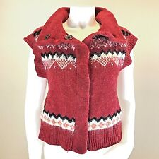 Free People Fair Isle Sweater Vest Sz Small Wool Mohair Red Snap Button Pockets