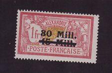 Colonie ALEXANDRIE N°50 SURCHARGE 30 M SUR 15 M SUR 1 F MERSON GOMME CHARNIÈRE