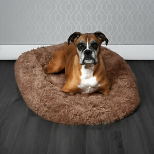 Pawamore Brown Soft Pet Calming Anxiety Donut Cushion Warm Nest Dog Bed 80cm XL