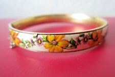 Vintage FLORAL ENAMEL BANGLE BRASS BRACELET Hinged Yellow Purple Daisy Flowers