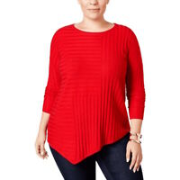 INC Women's Plus Size Asymmetric Crew Neck Ribbed Sweater - Red - Size 0X
