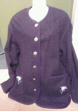 Women's Rare Vintage Spiegel Apart Edelweiss Flower Wool Black Charcoal Jacket 6