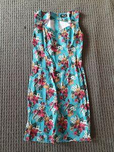 Revival Size 10 Aqua Floral Dress