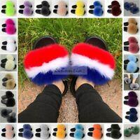 Women's Big Fluffy Real Fox Fur Flat Slipper Slides Indoor Sandal Shoes Slip On
