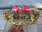 Vintage in Brass Enormous Drawer Pull Handle Ornated Coat of Arms Old Hardware