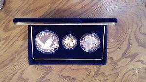2008 Bald Eagle Commemorative Proof 3 Coin Set Silver & Gold $5 Dollar Clad Half