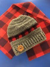 Buffalo Plaid Crocheted Messy Bun Ponytail Hat Beanie Handmade So ADORABLE!