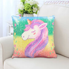 Reversible Sequin Unicorn Print Mermaid Pillow Case Fairy Tale Cushion Cover DIY