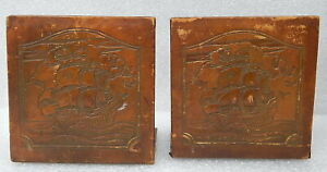 Antique Embossed Tooled Leather Galleon Ship boat bookends book ends