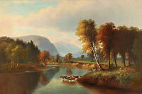 Oil painting Saco River North Conway cows drinking by river landscape on canvas