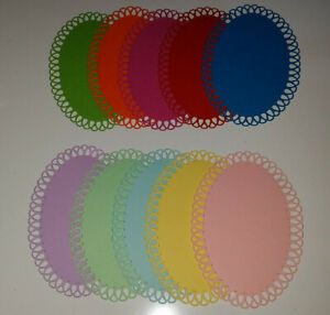 10 Looped Edge Oval Die Cuts--12.5cms x 8.5ms In Assorted Colours