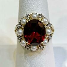 5 Carat Oval Garnet & Pearl Ring 10K Yellow Gold & Diamond Accents Size 6.5