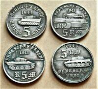 WW2 GERMAN SET OF 4 COLLECTORS COINS A. HITLER TANK SERIES 5 REICHSMARK