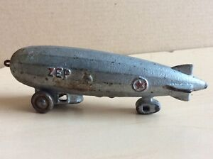 "Vintage cast iron Blimp Zeppelin pull toy 5"" Dent Kilgore Hubley"