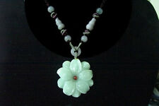 Very Big Beaded Chain Delicately Carved Jadeite Jade Bauhinia Flower Necklace