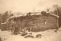 ANTIQUE HUNTER 35 STAR FLAG DOGS UNUSUAL LOG CABIN CHICAGO CABINET CARD PHOTO